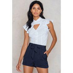 Moves Ullah Shorts ($48) ❤ liked on Polyvore featuring shorts, navy, stretch waist shorts, elastic waist shorts, navy blue shorts, navy shorts and elastic waistband shorts