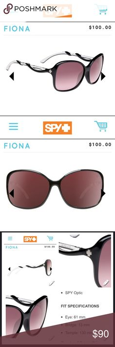 "Spy ""Fiona"" sunglasses Brand new Spy sunglasses. They are the Fiona style.  With a bold butterfly shape, the Fiona is confident, fun up front and sinewy with curves in all the right places. Comes with the SPY Happy Lens™, the only color and contrast enhancing lens technology that maximizes the transmission of the sun's ""good"" rays—while still blocking out its ""bad"" rays—which studies suggest fosters an uplift in mood and alertness. 100% UV protection Spy Accessories Sunglasses"