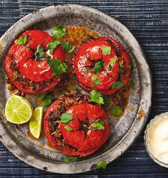 Yotam Ottolenghi's stuffed Mexican tomatoes. Stuffed pepper, tomato and courgette are my idea of the ultimate comfort food, so fill 'em up Yotam Ottolenghi, Ottolenghi Recipes, Greek Recipes, Mexican Food Recipes, Vegetarian Recipes, Cooking Recipes, Healthy Recipes, Recipes Dinner, Veggie Dishes