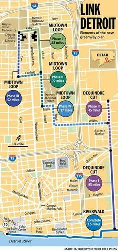 New greenways to link RiverWalk to Eastern Market, Midtown, Hamtramck | Detroit Free Press | freep.com  100 miles of bike routes planned in Detroit