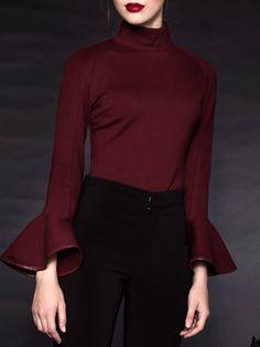 Elegant Turtleneck Cotton-blend Piping Frill Sleeve Top