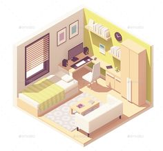 Buy Vector Isometric Teenager or Student Room by on GraphicRiver. Vector isometric teenager or student room interior cross-section bed, desk and computer, cabinet, bookshelves, tea ta. Isometric Art, Isometric Design, Room Interior, Interior And Exterior, Interior Design, Casa Viking, Casas The Sims 4, Student Room, Room Set