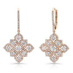 18k Rose Gold White Diamond Blossoming Drop Earrings  - FM31342-18R