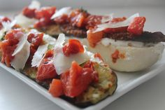 Open Face Crunchy Eggplant, Warm Tomato with Thyme, and Ricotta Sandwiches