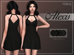 Alexis A-Line Little Black Dress by Trillyke at TSR via Sims 4 Updates