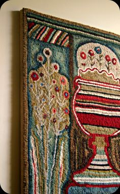 """""""Amherst Floral"""" detail...I stretched this rug onto a traditional wooden stretcher."""