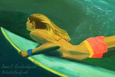 Duck Dive Surfer Girl by Jenn C Lindquist - Art Print- Original<br /><br /><br />Ocean art print (surf, surfing, surfer girl underwater)<br /><br />Reference photo Beach Artwork, Beach Paintings, Surf Decor, Purple Sunset, Surf Art, Mermaid Art, Ocean Art, Art Girl, Fine Art Prints