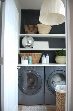 laundry room makeover in a rental