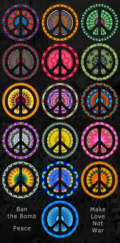 CND logo in colourful kaleidoscopes, available on T-shirts, tops and a range of gift items.  This is the logo of the Campaign for Nuclear Disarmament (CND), known as the Peace symbol. Designed by Gerald Holtom in 1958, the logo is formed from the semaphore letters N and D.  Ban the Bomb. Peace. Make Love Not War.