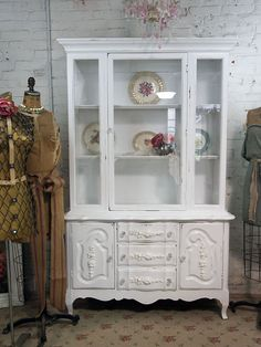 Reseved For Cscifo Vintage Painted Cottage Chic Shabby White China Cabinet Cc158