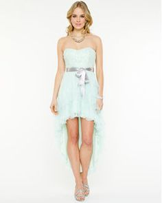 Lace and Mesh Strapless Gown