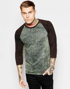 ASOS 3/4 Sleeve T-Shirt With Contrast Raglan And Acid Wash