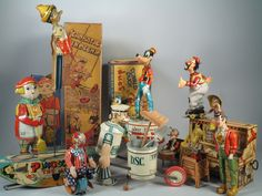 Vintage group of wind-up toys.