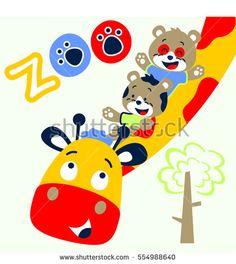 giraffe and friends cheerful in the zoo vector cartoon