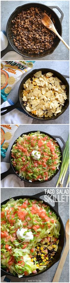 A fast and fun new way to celebrate Taco Tuesday. Taco Salad Skillet - BudgetBytes.com