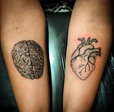 brain heart tattoo