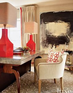 Jeffers Design Group - Taupe gray & red chic living room design with glossy red lamps. Adore this design.-- love the design & name of design group Decor, Room Design, Interior, Chic Living Room Design, Contemporary Living Room, Decor Inspiration, Home Decor, House Interior, Interior Design