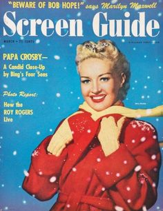 Betty Grable on the cover of Screen Guide magazine, March 1951, USA.