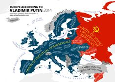 Europe According to Vladimir Putin (2014) from the Mapping Stereotypes project by Yanko Tsvetkov. The map will appear in the upcoming third volume of the Atlas of Prejudice book series.