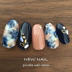 Marble Navy and Pink Nails