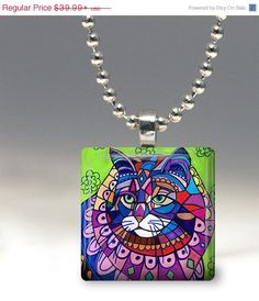 40% OFF- Cat Pendant Jewelry Necklace Folk Art by Heather Galler