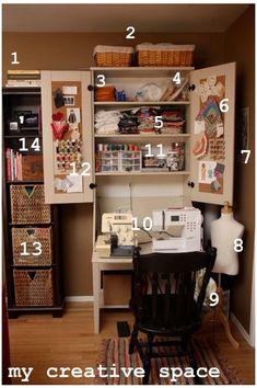 creative space sewing room organization using Ikea Hemnes secretary desk Sewing Nook, My Sewing Room, Sewing Table, Small Sewing Space, Sewing Spaces, Sewing Room Organization, Craft Room Storage, Craft Rooms, Organization Ideas