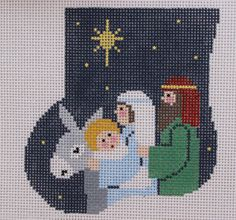 Kathy Schenkel Holy Family with Angel Mini Sock Hand Painted Needlepoint Canvas