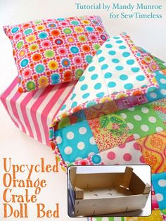 Upcycle a plain old orange crate and transform it into an adorable doll bed with Timeless Treasures Tribeca fabrics! Free tutorial on our blog today. #sewing #freepattern #sewingforkids