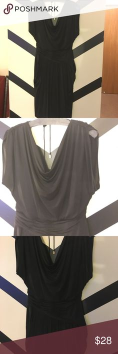 Sexy LBD! Drape neck, ruched style, fab fit! sz6 Must have black dress, drape neck with gold hardware back drop tassel, really beautiful excellent condition Anne Klein Dresses