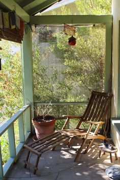 A lovely mini outdoor balcony for lounging -- Alex & Sarah's Traveler's Home