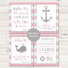 Nautical Biblical Nursery pink gray Quotes Set by PerfectlyMatched