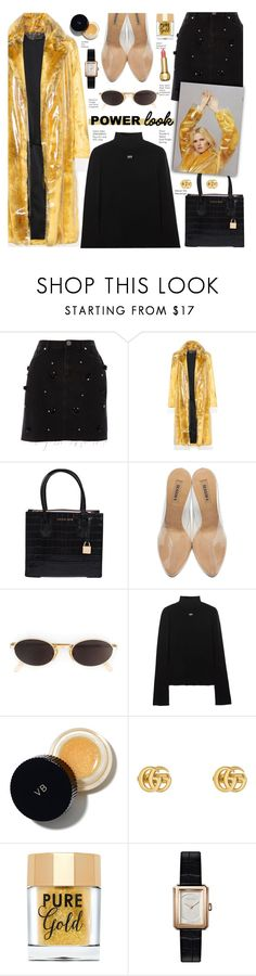 """""""Woman Power Look"""" by voguefashion101 ❤ liked on Polyvore featuring River Island, Calvin Klein 205W39NYC, Michael Kors, adidas Originals, Moschino, Off-White, Victoria Beckham, Gucci, Too Faced Cosmetics and Chanel"""