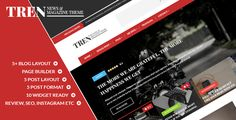Tren - Blog & Magazine WordPress Theme Wordpress theme for Blog and Magazine, with a responsive design able to fit any screen size, It supports 4 post formats. with page builder can be used to create a portal news sites, magazine, newspaper and blog.