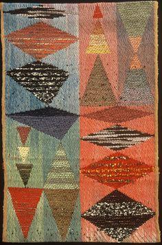 "Bhakti Ziek   Chaos and Order #2   wool + cotton   warp ikat, lampas pickup   25.75"" x 18.75""   Randolph, Vermont, U.S.A.   2004"