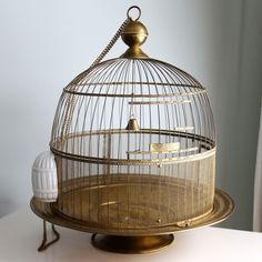 Vintage Hendryx Brass Bird Cage 1930's by vintageatchirp on Etsy