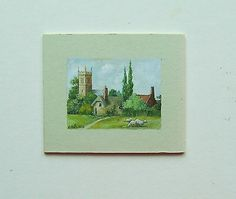 DOLLS HOUSE MINIATURE PAINTING. ORIGINAL TINY ART 1/12TH SCALE PICTURE