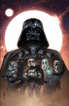Star Wars - Darth Vader and Storm Troopers by Tom Hodges, colours by Juan Fernandez Star Wars Fan Art, Star Wars Film, Theme Star Wars, Star Wars Poster, Darth Vader, Anakin Vader, Vader Star Wars, Anakin Skywalker, Star Trek