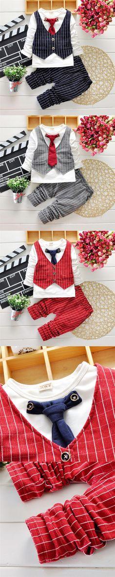 Fashion Kids Clothes Boys 3 Piece Sets Autumn Winter Striped Baby Gentleman Suits Long Sleeve Children Clothing Vetement Enfant $21.99