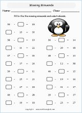 Find the missing addends of numbers not exceeding 100. Practice your addition skills and solve this worksheet