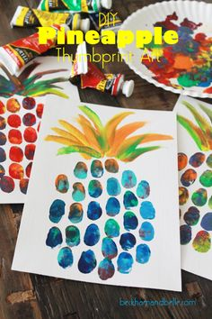 """DIY Pineapple Thumbprint Art - Kids Project (I think maintaining the shape of the pineapple would be key so a light pencil outline may be necessary. Also, keeping the """"eye"""" thumb prints up & down is important for the final look, too)."""