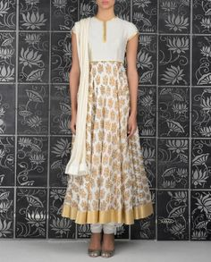Ivory Anarkali Suit with Floral Block Prints - Rohit Bal - Designers