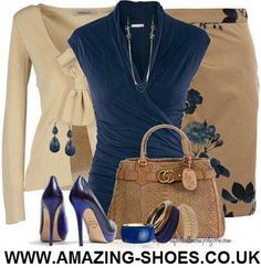 Dark tan pencil skirt with blue flowers, dark blue sleeveless dressy blue wrap top, creme long sleeve seater with tie, dark blue platform pumps, tan woven purse with dark blue, gold, and tan thick stacked bangles, dark blue dangly earrings with dark blue and gold delicate multi strand necklace.