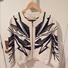 IRO BLACK AND WHITE BEADED JACKET NEVER WORN! | BRAND NEW | GORGEOUS BEADING AND NET DETAIL SHOWN IN PICTURES | PURCHASED FROM INTERMIX | SIZE 40 = M/L IRO Other