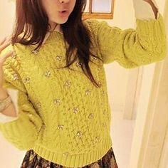 Women's Handmade Bead Twist Sweater