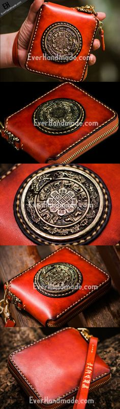Handmade leather Mens Tibet Small biker wallet zipper Short Chain Wallet for Men Slim Wallet, Long Wallet, Wallet Chain, Clutch Wallet, Handmade Leather Wallet, Leather Craft, Saddle Bags, Leather Men, Biker