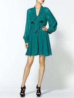 Arielle Bishop Sleeve Silk Dress