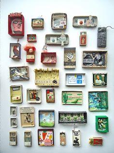 From manoswelt. - Craft-o-Rama Shadow Box Kunst, Shadow Box Art, Matchbox Crafts, Matchbox Art, Altered Tins, Altered Art, Paper Art, Paper Crafts, Tin Art