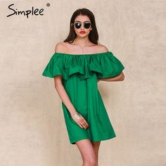 Simplee Apparel Ruffles slash neck women dress Summer style off shoulder sexy dresses vestidos White tube beach dress cotton-in Dresses from Women's Clothing & Accessories on Aliexpress.com | Alibaba Group