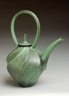 Jim Connell, Small Green Carved Teapot, stoneware, 2007