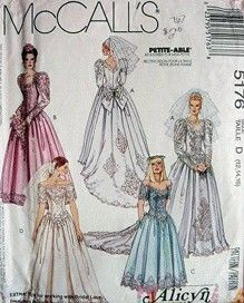 Items similar to 1991 McCall's 5176 Bridal Gowns and Bridesmaid Dress Sewing pattern size B 8 10 12 on Etsy Wedding Dress Patterns, Vintage Dress Patterns, Clothing Patterns, Vintage Outfits, Vintage Dresses, Vintage Fashion, 90s Fashion, 1990s Dress, Vintage Mode